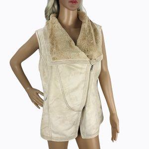 Tasha Polizzi Beige Faux Suede Fur Vest Coat